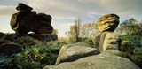 A view of the fantastically shaped rock formations at Brimham Rocks, North Yorkshire