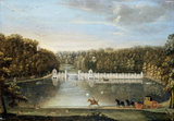 THE DAM AND FISHING TABERNACLES WITH THE OCTAGON TOWER AND ROTUNDA AT STUDLEY ROYAL by Balthasar Nebot c. 1768