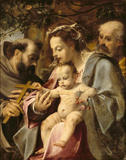 THE HOLY FAMILY WITH ST FRANCIS by Lodovico Carracci (1555-1619) from Tatton Park