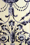 Detail of the blue and white wallpaper, reproduced from the original C19th paper, in the Oak Hall at Petworth House