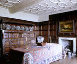 The Dining Room at East Riddlesden Hall, West Yorkshire showing the table, fireplace and early seventeenth century three tier cupboard from Ponden Hall, the house which inspired Wuthering Heights