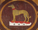 Detail of the painted floor in The Tyrconnel Room at Belton House incorporating the Belton greyhound, possibly a late Victorian neo-Caroline pastiche