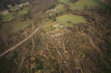 Aerial view of the parkland at Emmetts Garden showing some of the damage caused by the storm in October 1987