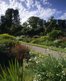A view of the round herbaceous garden at Lanhydrock