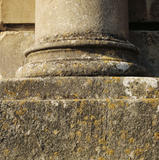 A detailed close up of the base of one of the pillars on the East Front of Dryham Park