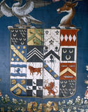 The central section of an heraldic banner painted on silk at Trerice, used by William Arundell Harris Arundell when High Sheriff of Cornwall in 1817
