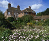 View across garden to the house, Owletts, near Cobham, with Osteospermum flowering in foreground