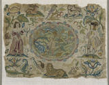 Canvas-work picture worked with silk in tent-and cross-stitch depicting a pastoral scene with flowers, animals, insects and figures possibly representing smell and taste, English, c