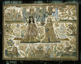 Raised-work picture, satin embroidered with silk, coloured purl, cord and braid, possibly representing Solomon and the Queen of Sheba, English, c