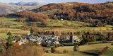 (FL) Hawkshead, in the Lake District seen looking towards Latterbarrow and Claife Heights, a village where Beatrix Potter acquired farms and cottages which she later passed on to the NT