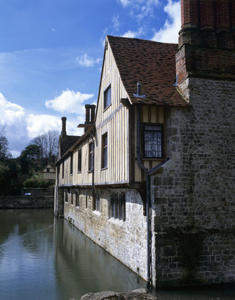 The south east aspect of Ightham Mote seen across the moat