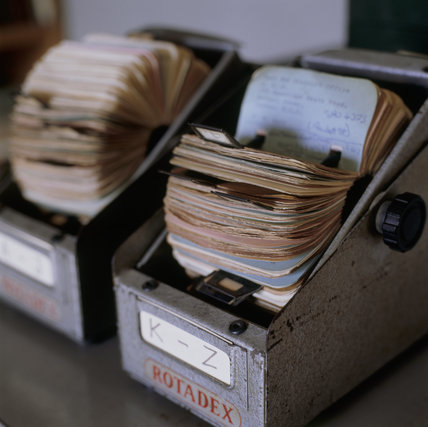 Metal index boxes belonging to architect Erno Goldfinger