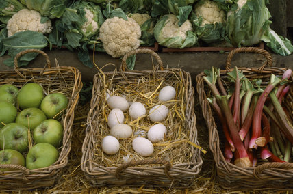 A view of the produce on sale at the Osterley Park Farm shop, including baskets of eggs, rhubarb, apples and cauliflowers