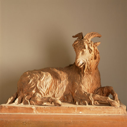 The painted plaster goat by J.M.Rysbrack