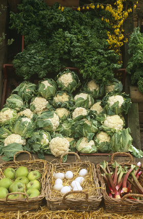 View of the farm shop at Osterley Park showing vegetables and fruit