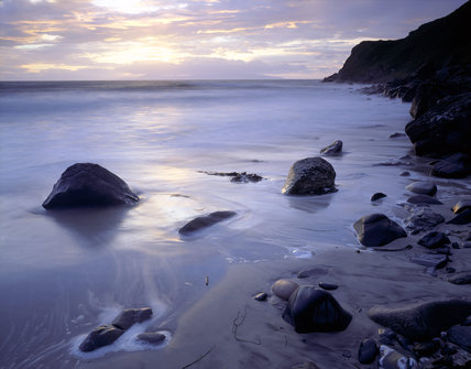 A beautiful dawn at Murlough Bay, County Antrim, looking towards Ruebane Point