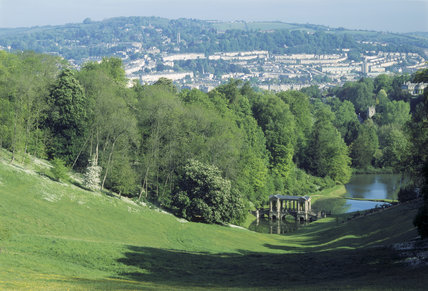 View from house with Bath skyline, showing Palladian Bridge over the lake