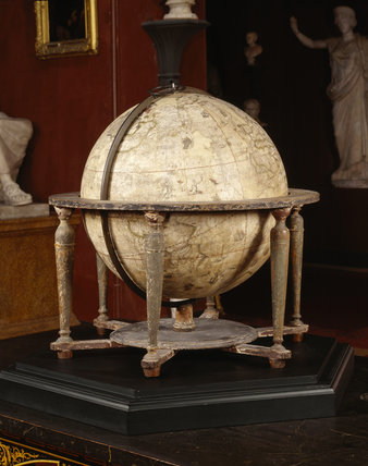 The Molyneux Globe in the North Gallery at Petworth House, made in 1592, the engravings of cartouches, sea-monsters and other nautical decoration is by Hondius