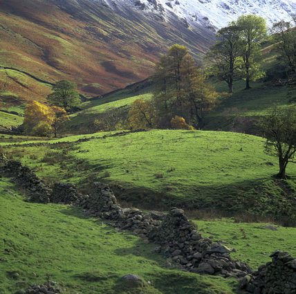 A view of Pasture Bottom, near Hartsop, the trees turning to autumn colours, and a dusting of snow on the hills in the background