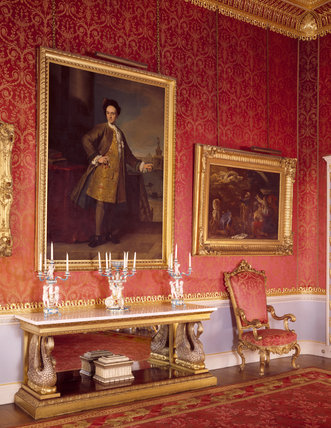 Drawing Room at Tatton with portrait of Samuel Egerton by Nazzari
