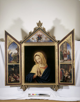 THE VIRGIN,by Georgiana,Lady Chatterton,(1806-1876),after Sassoferrato,(1609-1685), the central panel of the triptych on the left of the reredos in the chapel