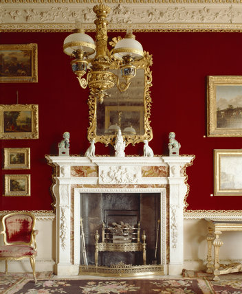 View of the fireplace in the Velvet Drawing Room, attributed to Thomas Carter the Younger
