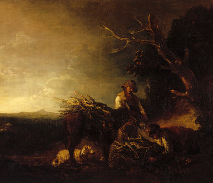 WOODCUTTERS by Thomas Gainsborough (1727-88) in the Prynne Passageway at Dunster Castle