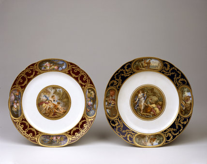 A pair of Sevres plates recently recovered after a burglary in the 1960s at Upton House