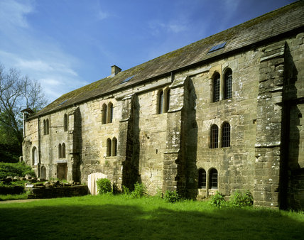 Oblique view of the East Front of Fountains Mill, the finest surviving example of a C12th monastic watermill
