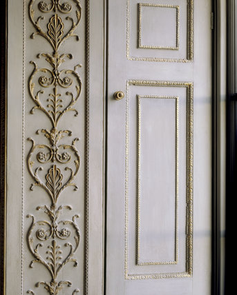 Scroll decoration in The Saloon at Uppark.