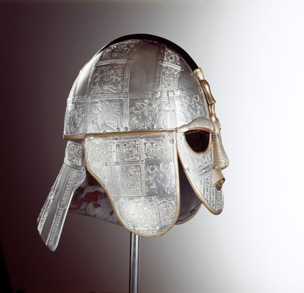 Replicas of finds from the Sutton Hoo Saxon burial site - richly decorated Anglo-Saxon helmet of war