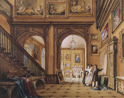 THE HALL by Nicholas Condy, showing a man and two women looking at a map on the wall with many pictures on the walls and the staircase going up, hanging in the Exhibition room