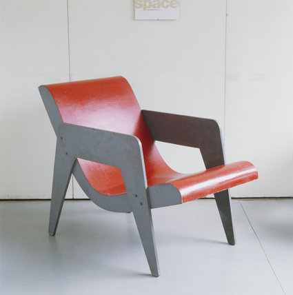 A red and grey chair from 2 Willow Road