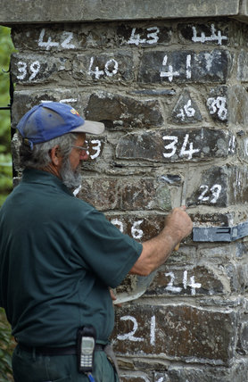 Reconstructing the stone gate piers, using numbered stones, at Llanerchaeron, a C18th Welsh estate