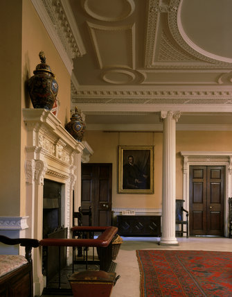 Entrance Hall showing fireplace with Pennyman baronetcy coat of arms created 1664 over carved mantel