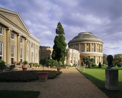 Ickworth House in Suffolk, showing the Orangery on the left, and the central rotunda to the right, with the curved corridor linking the two