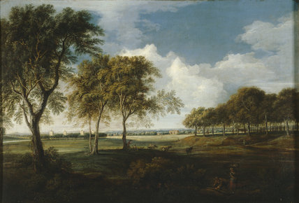 Sudbury Hall from the North, Morning by John Griffier the Elder in the Entrance Passage at Sudbury Hall