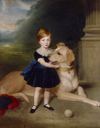 2ND LORD NEWTON AS A CHILD (1857-1942) with one of the Lyme mastiffs, painted by an unknown artist