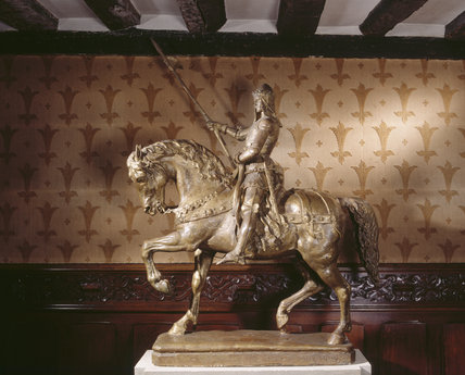 A bronze statue in the Outer Hall at Ightham Mote of the Black Prince at Canterbury by Edouard Lanteri (1848-1917)