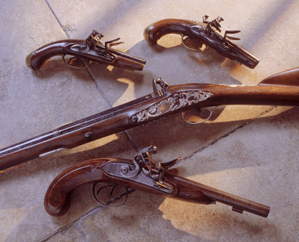 A collection of guns found in the West corridor of Saltram house