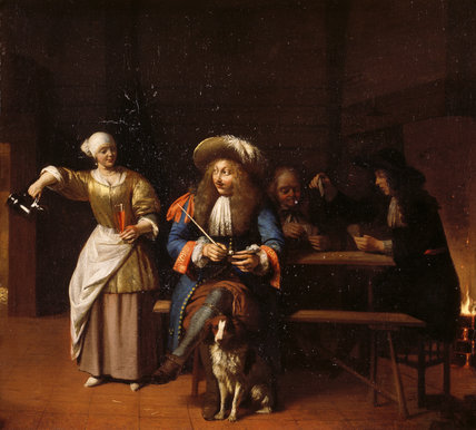 Painting of a TAVERN SCENE by Pieter der Hooch (1629-1684), at Saltram