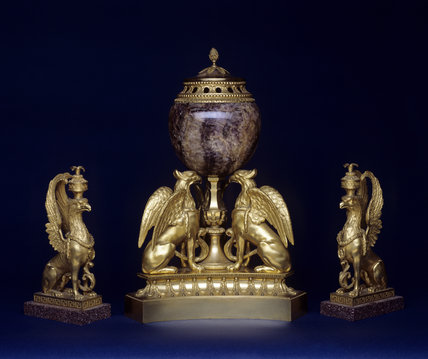 Ormolu-mounted, Blue-John perfume burner by Matthew Bolton and candlesticks in the form of griffins at Hinton Ampner