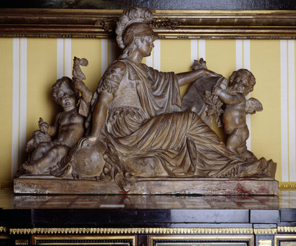 Louis XVI terracotta group with Minerva in the south drawing room at Hinton Ampner