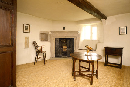 The Study at Woolsthorpe Manor showing Isaac Newton's reflecting telescope