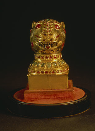 The Tipus gold lion head in the Clive Museum at Powis