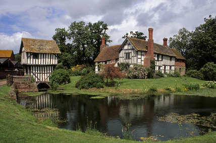 View of the moated house built for John Domulton, Brockhampton family descendant