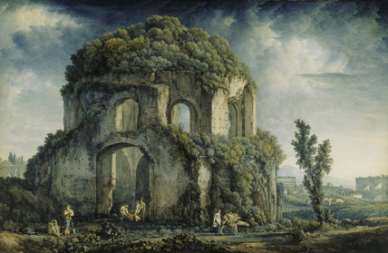 THE TEMPLE OF MINERVA MEDICA by Abraham Louis Rudolphe Ducros 1748-1810, Watercolour 26 1/2 x 40 1/2 (D10)