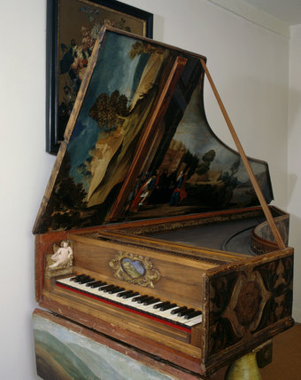 The sixteenth century German or Italian painted harpsichord in the North Room at Fenton House
