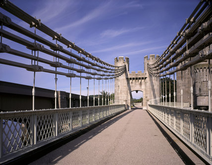 A view along the centre of the Conwy Suspension Bridge which was designed and built by Thomas Telford in 1826