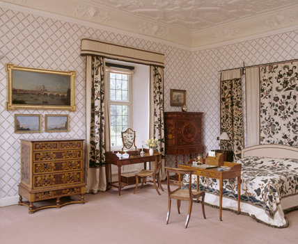 The West Turret Bedroom at Blickling Hall, with modern bed and late C17th